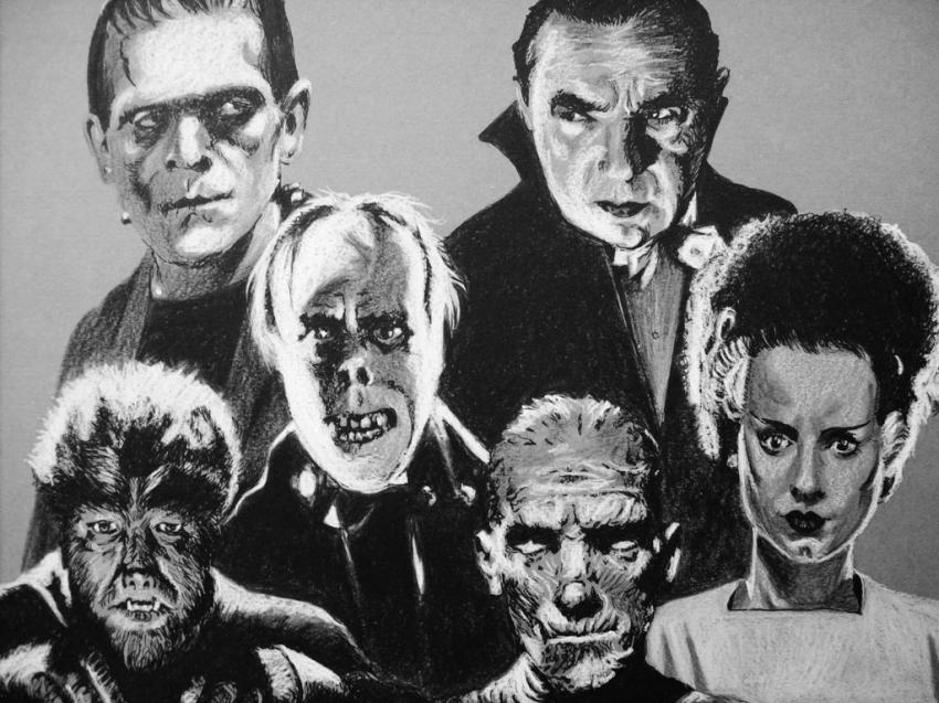 Elsa Lanchester, Lon Chaney Jr., Lon Chaney Sr., Bela Lugosi, Boris Karloff por Tom-Heyburn